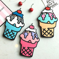 Fashion 3D Ice Cream iPhone 5SE 5S 6 6S Plus Case Solid Cover + Nice Gift Box 448