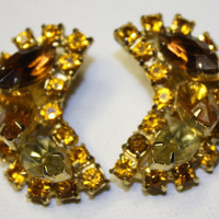 Vintage Amber Rhinestone Chunky Earrings 1950 by patwatty on Etsy