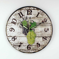 Brand dining room wall decoration clocks with 3d fruits and waterproof clock face fashion kitchen decorative wall clock gift