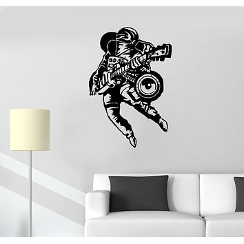 Wall Decal Cool Astronaut Musician Guitar Player Rock Music Space Vinyl Sticker (ed1344)