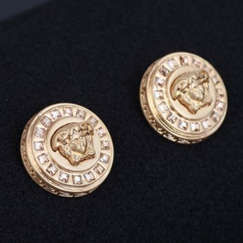 Versace High Quality Fashion New More Diamond Round Retro Personality Women Earring Golden