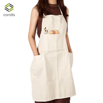 Conda Professional Bib Apron for Painting Cotton Canvas With 4 Pockets for Women Men Adults Waterproof Natural 31inch