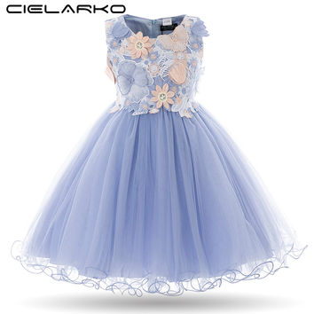 Cielarko 2017 Kids Girls Flower Dress Children Girl Sleeveless Birthday Party Butterfly Dress Baby Fancy Princess Bow Clothes