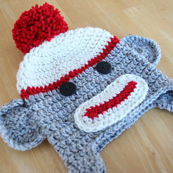 Sock monkey hat, newborn sock monkey hat, crochet monkey, red cream and gray, Newborn to 12 month sizes available