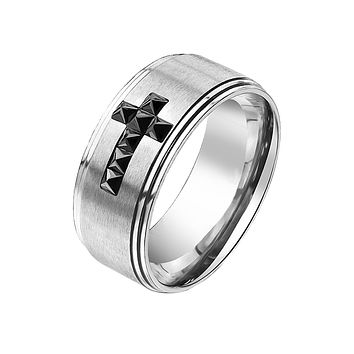 Bold Cross - Men's Black CZ Cross Stainless Steel Ring