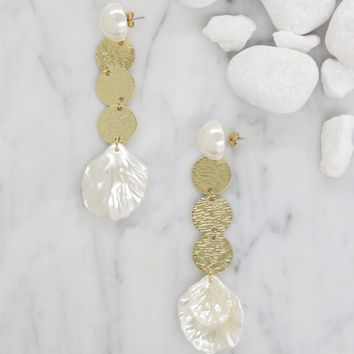 Now is the Time Earrings in Cream and Gold