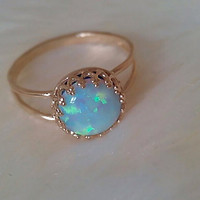 BLUE OPAL RING with blue opal gemstone birthstone ring 14 k gold -plated ring