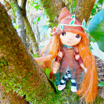 fairy doll, miniature doll, art doll, collectible doll, red haired  doll