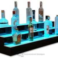 "48"" 3 Tier LED Lighted Liquor Display Bar Shelves with High Gloss Black Finish & NeXus LED Remote Control Lighting"