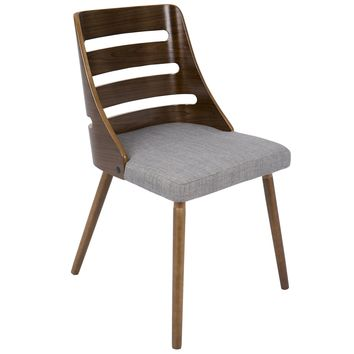 Trevi Mid-Century Modern Dining Chair in Grey Fabric and Walnut wood by LumiSource