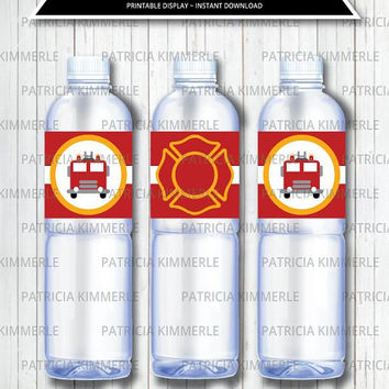 Printable Bottle Labels, Firefighter, Fireman, Fire Truck, Fire Dept,  Hero, Fire Rescue, Birthday, Decorations, DIY,  INSTANT DOWNLOAD
