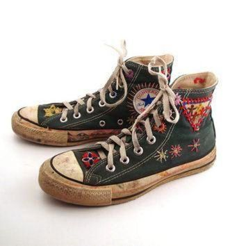 ICIKGQ8 converse shoes sneakers 70s vintage 1970s lace up high hi top patched size 4 1 2