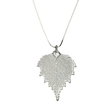 """Silver Plated Birch Leaf Pendant Sterling Silver Serpentine Chain Necklace, 16"""""""
