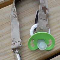 Military Pacifier Holder, US Marines Tan Marpat Fabric Pacifier Holder , USMC Camouflage Fabric Pacifier Holder, Binky Clip