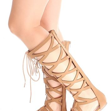 TAN MULTI CUTOUT LOOK LACE DESIGN BACK ZIPPER GLADIATOR KNEE HIGH SANDALS