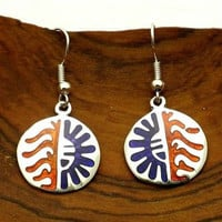 Colorful Alpaca Silver and Resin Earrings - Sun - Artisana