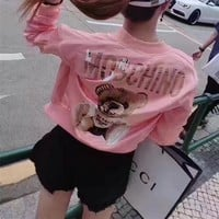 """Moschino"" Women Fashion Cartoon Bear Letter Pattern Print Long Sleeve Zip Cardigan Short Section Jacket Coat"