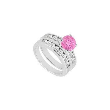 Pink Sapphire & Diamond Engagement Ring with Wedding Band Sets 14K White Gold  1.50 CT TGW