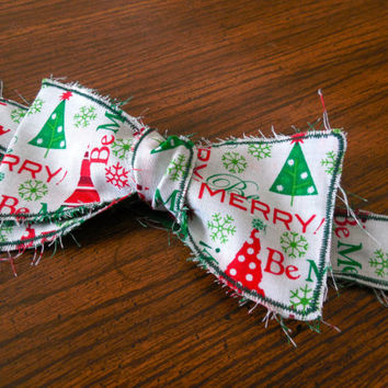 Men's and Dog-Red, Green, and White Be Merry with Christmas Tree // Christmas Rustic/Rough Edged Bow Tie. Multiple Sizes Available
