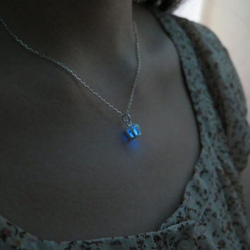 Blue Crown Necklaces Pendant in the dark,Glowing Pendant ,Glowing Necklace Jewelry,Cyan Couple Necklace for him Art Gifts for Her
