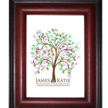 FINGERPRINT GUEST TREE , Wedding Tree, Love Birds, guest book tree wedding, Thumbprint Stamp Tree Stamp, Tree guest book, 20x30 num. 100 2