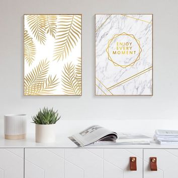 Abstract Yellow Leaf Wall Art Canvas Painting Nordic Poster Picture Cuadros Decoracion Wall Pictures For Living Room Unframed