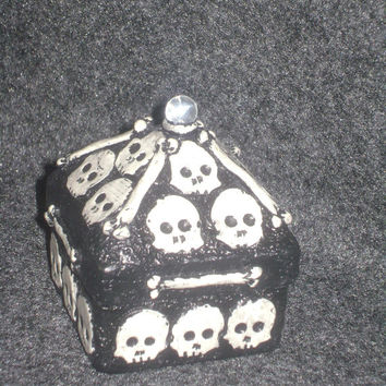 Skull Box - polymer clay over paper mache skull trinket box