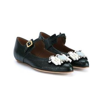 MARNI | Embellished Python Skin Mary Jane Flats | Womenswear | Browns Fashion