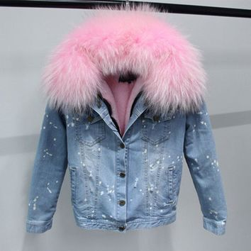 Hot Sale Korean 100% Natural Real Large Raccoon Fur Collar Women Winter Coat Jacket Denim Thick Short Blue Jeans Outwear Parkas