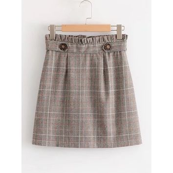 Frill Waist Glen Plaid Skirt