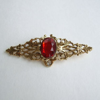 Red Antiqued Goldtone Brooch Cushion Cut Vintage Jewelry