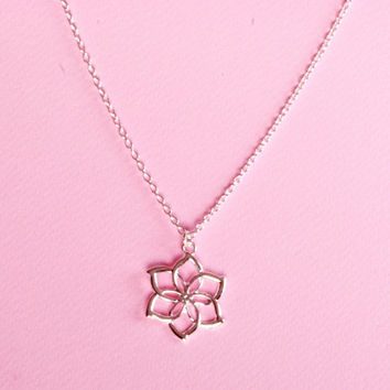 Silver Rose Necklace  Silver Tone Rose Jewelry  Flower Jewelry  Metal Rose Necklace  Rose Pendant Necklace