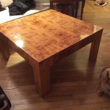 Epic Burled Wood Coffee Table Milo Baughman