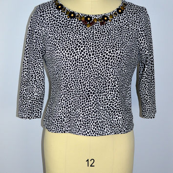 Ruby Rd Leopard Top Beaded Size Large Petite
