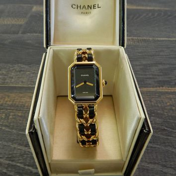 Rise-on CHANEL Premiere L Size Gold Plated Black Leather Ladies Wrist Watch #19