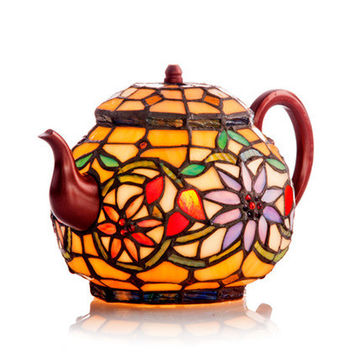6.5inch H Stained Glass Teapot Accent Lamp