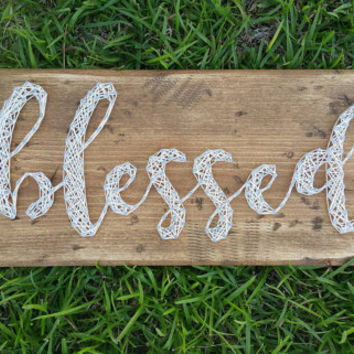 Weathered Wood 'blessed' String Art Sign, Neutral Color Wall Hanging, String and Nail Art Farmhouse Decor, Ready to Ship