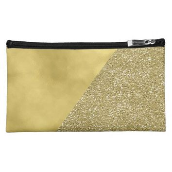 Gold Glitter Trendy Modern Cosmetic Bag