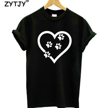 love heart cat paw Print Women tshirt Cotton Casual Funny t shirt For Lady Girl Top Tee Hipster Tumblr Drop Ship Z-1101