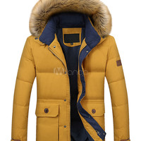 Men's Hooded Jacket Fur Padded Zip Up Parkas With Contrast Pockets