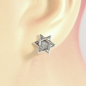 Earrings Star of David Sterling Silver Judaism Religious Minimal Ear Studs no. 3417