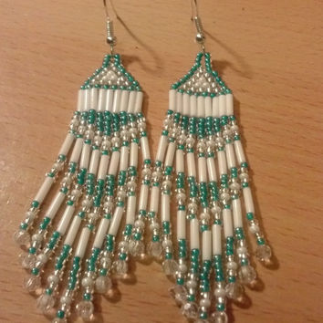 Hand Beaded Fringe Earrings, Brick Stitch, Beautiful Turquoise, White and Silver Sparkles, Native American Inspired, Handmade
