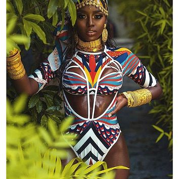 2019 New African Tribal Swimsuit One Piece Swimsuit Totem Print Swimwear Women High Cut Out Monokini Long Sleeve Beach Swim Suit