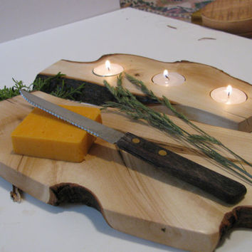 Cheese board, Table centerpiece, two tealight holders or any combination you prefer.