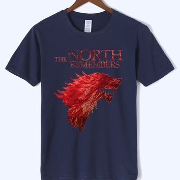 2018 Summer Fitness Sportwear Fashion Casual T-shirt THE NORTH REMEMBERS Print Game Of Thrones High quality Cotton Tshirts Kpop