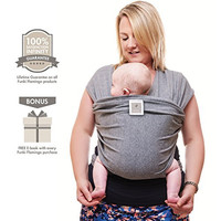 Funki Flamingo Premium Baby Carrier, Wrap, Sling | FREE Carry Pouch | FREE EBooks | 100% Guaranteed | Neutral Grey | Ideal Gift |