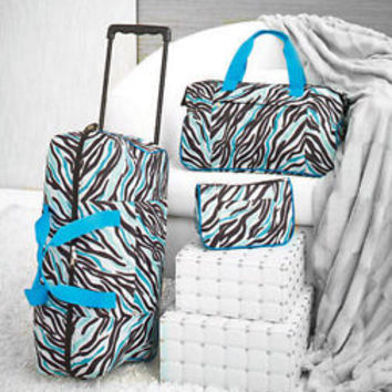 3 pc Blue Zebra Print Luggage Set Rolling Duffel Tote & Toiletry Bag Travel Bags