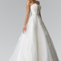 Inexpensive strapless ball gown wedding dress gl2370