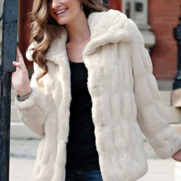 Ivory Mink Couture Faux Fur Jacket | Fabulous-Furs