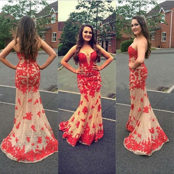 Sweetheart Red Applique Long  Prom Dresses